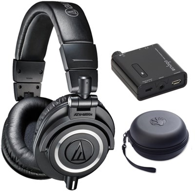 ATH-M50X Professional Studio Black Headphone w/ Slappa Case + Fiio A1 Amp Bundle