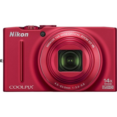COOLPIX S8200 16MP Digital Camera with 14x Zoom (Red) Refurbished