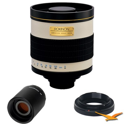 800mm F8.0 Mirror Lens for Samsung NX with 2x Multiplier (White Body) - 800M