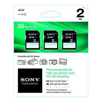 2GB SD 3-Pack Class 4 Memory (6 GB Total)