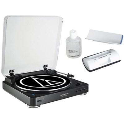 Wireless Belt-Drive Stereo Turntable w/ Record Vinyl Cleaner Kit, Black