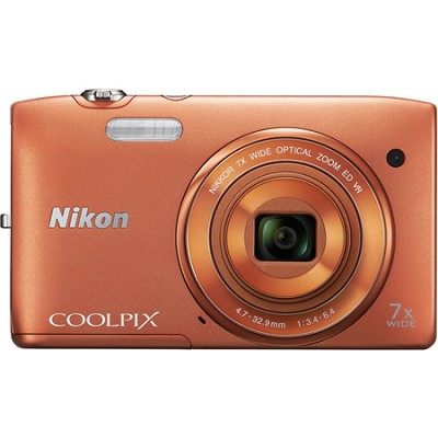COOLPIX S3500 20.1MP 2.7` LCD Orange Digital Camera with 720p HD Video