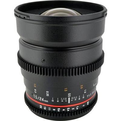 24mm T1.5 Aspherical Wide Angle Cine Lens, De-clicked Aperture - Canon EF Mount