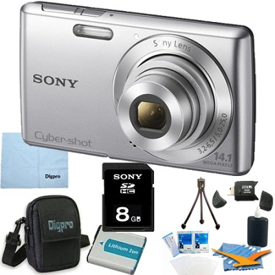 Cyber-shot DSC-W620 Silver 8GB Digital Camera Bundle