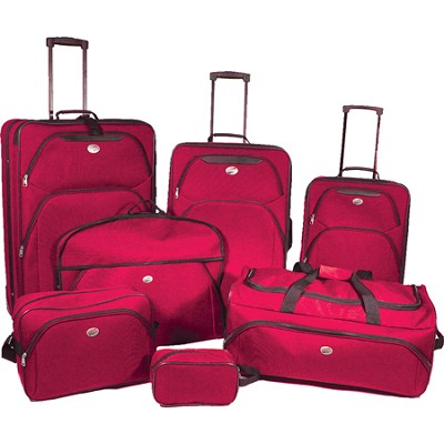 7 Piece Ultra Lightweight Deluxe Luggage Set- Red