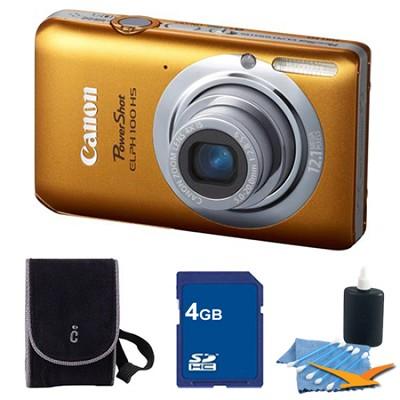 PowerShot ELPH 100 HS Orange Digital Camera 4GB Bundle