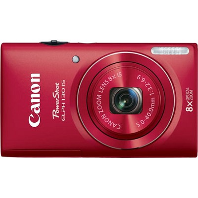 PowerShot ELPH 130 IS Red 16MP Digital Camera with WiFi and 8x Opt. Zoom