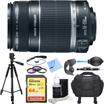 EF-S 55-250mm f/4-5.6 IS II (Stabilized) Telephoto Lens Deluxe Accessory Bundle