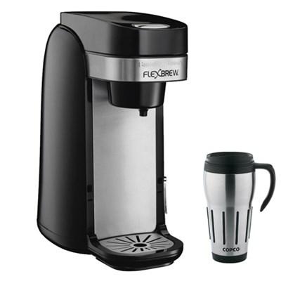 Single Serve Coffee Maker, Flexbrew + Copco Travel Mug