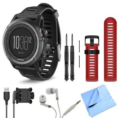 fenix 3 Multisport Training Gray GPS Watch Red Band Bundle