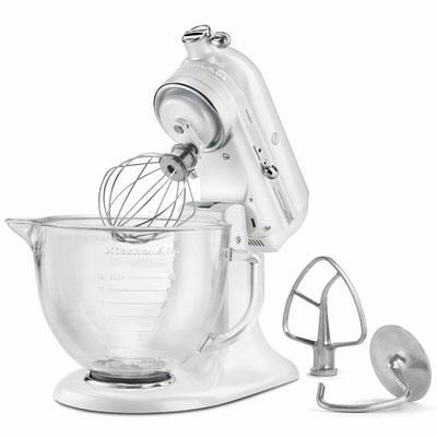 Artisan Series 5-Quart Stand Mixer in Frosted Pearl White w/ Glass Bowl - KSM155