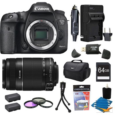 EOS 7D Mark II 20.2MP HD 1080p DSLR Camera Body and 55-250mm IS Lens 64GB Bundle