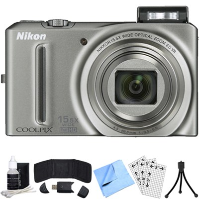 COOLPIX S9050 12.1MP Digital Camera w/15.5x Opt Zoom (Silver) Refurbished Bundle