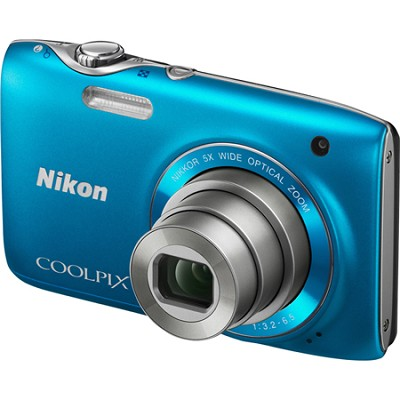 COOLPIX S3100 14MP 5x Zoom Blue Compact Digital Camera