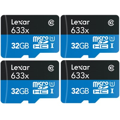 4-Pack of microSDHC UHS-I 633X 32GB Memory Cards (up to 95MB/s)(128GB Total)