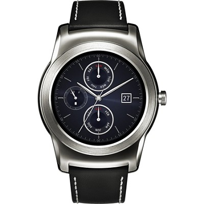 Watch Urbane Smartwatch Silver with Black Leather Strap