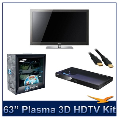 PN63C8000 - 63` 3D 1080p Plasma HDTV Kit w/ 3D Glasses & Blu-Ray Player