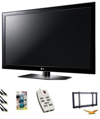 42LK520 - 42 Inch 1080p 120Hz  LCD TV w Mount, Surge Protector, HDMI, TV Cleaner
