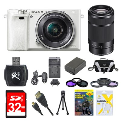 Alpha a6000 White Camera with 16-50mm and Black SEL 55-210 Lenses 32GB Kit