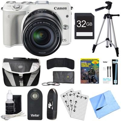 EOS M3 Wi-Fi Digital ILC White Camera EF-M 18-55mm IS STM Lens 32GB Bundle