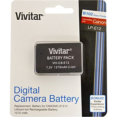 Replacement Lithium-Ion Battery for LP-E12, EOS M & EOS Rebel SL1 (CB-E12)