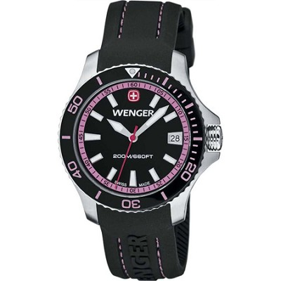Ladies' Sea Force Swiss Watch - Black and Pink Dial/Black Silicone Strap