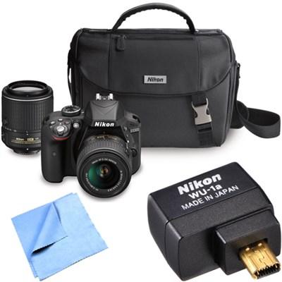 D3300 24.2MP DX-format Digital SLR w/ 18-55mm & 55-200mm DX Zoom Lenses Bundle