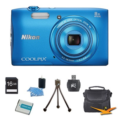 COOLPIX S3600 20.1MP 2.7` LCD Digital Camera with 720p HD Video Blue Kit
