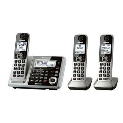 Cordless Phone and Answering Machine with 3 Handsets in Silver - KX-TGF373S