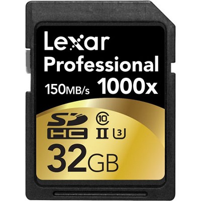 32GB Professional 1000x SDHC Class 10 UHS-II Memory Card Up to 150 MB/s