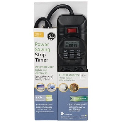 Power Saving 8 Outlet Digital Strip with Timer, Black