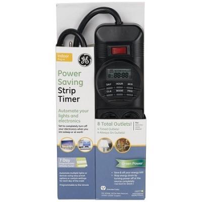 Power Saving 8 Outlet Digital Strip with Timer, Black