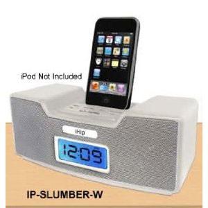 Dual Alarm Clock Radio & Speaker System for iPod (White)