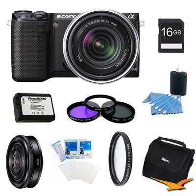 NEX-5RK/B Compact Camera with 18-55 Lens 16GB 20mm f 2.8 Lens Bundle