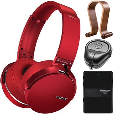 XB950B1 Extra Bass Wireless Headphones with Accessories Kit (Red) (2017 model)