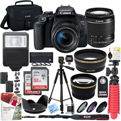 T7i EOS Rebel DSLR Camera EF-S 18-55mm f3.5-5.6 IS II Lens 32GB Memory x2 Bundle