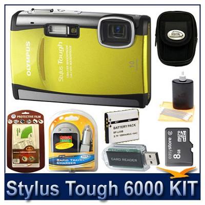 Stylus Tough 6000 10MP 2.7` LCD Digital Camera (Yellow) Sensible Mega Bundle