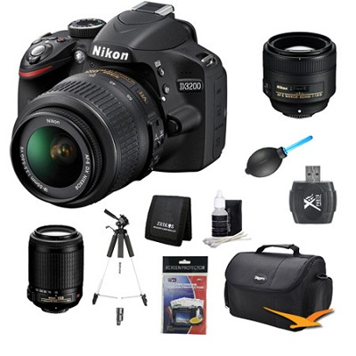 D3200 DX-format Digital SLR Kit w/ 18-55mm, 55-200mm, 85mm Zoom Lens Kit