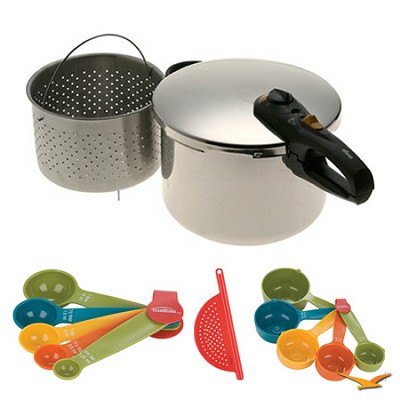 Duo 8 Qt. Stainless Steel Pressure Cooker, Measuring Sets and Drainer Bundle