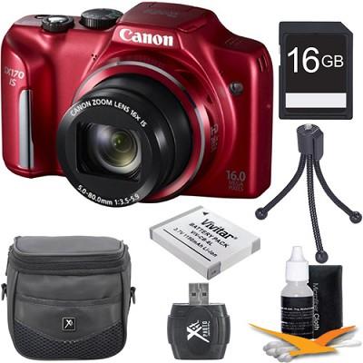 PowerShot SX170 IS 16MP Digital Camera Red 16Gb Kit