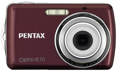 Optio E70 10MP 2.4` LCD Digital Camera (Wine Red)