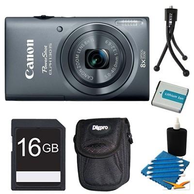PowerShot ELPH 130 IS Gray 16MP Digital Camera 16GB Bundle