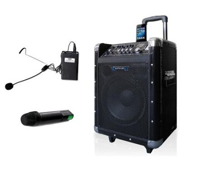 WASP1000 10'' Battery Powered PA System Dual Wireless VHF Micropho