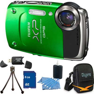 FINEPIX XP30 14 MP Waterproof Digital Camera 5x Zoom Lens (Green) - 8GB Bundle