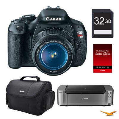 EOS T3i DSLR Camera 18-55mm Lens, 32GB, Printer Bundle