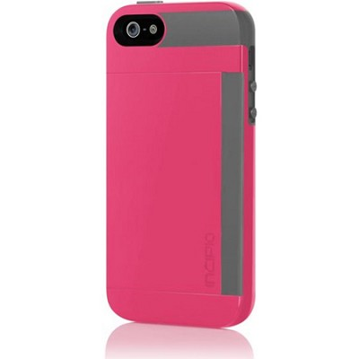 Stowaway Credit Card Hard Case for iPhone 5 - Pink/Gray