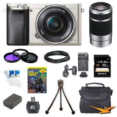 Alpha a6000 24.3MP Silver Interchangeable Lens Camera w/ 16-50mm, 55-210mm, 32GB