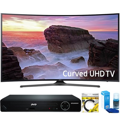 Curved 65` 4K HDR UHD Smart LED TV (2017 Model) +HDMI DVD Player Bundle
