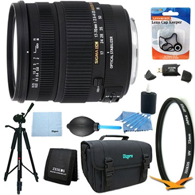 17-70mm f/2.8-4 DC Macro OS HSM Lens for Nikon DSLR Cameras Lens Kit Bundle