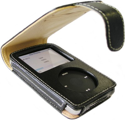 Slim Leather Case for iPod Video (Black) with detachable belt clip